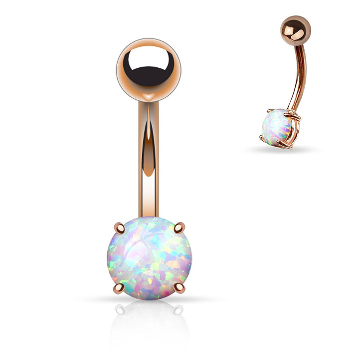 Rose Gold Opal Belly Ring