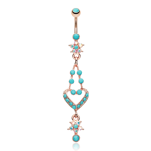 Rose Gold Turquoise Heart Belly Ring