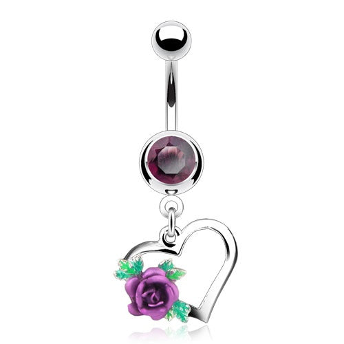 Heart with Rose Belly Ring - Purple