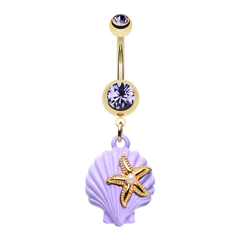 Rose Gold Purple Seashell Belly Ring