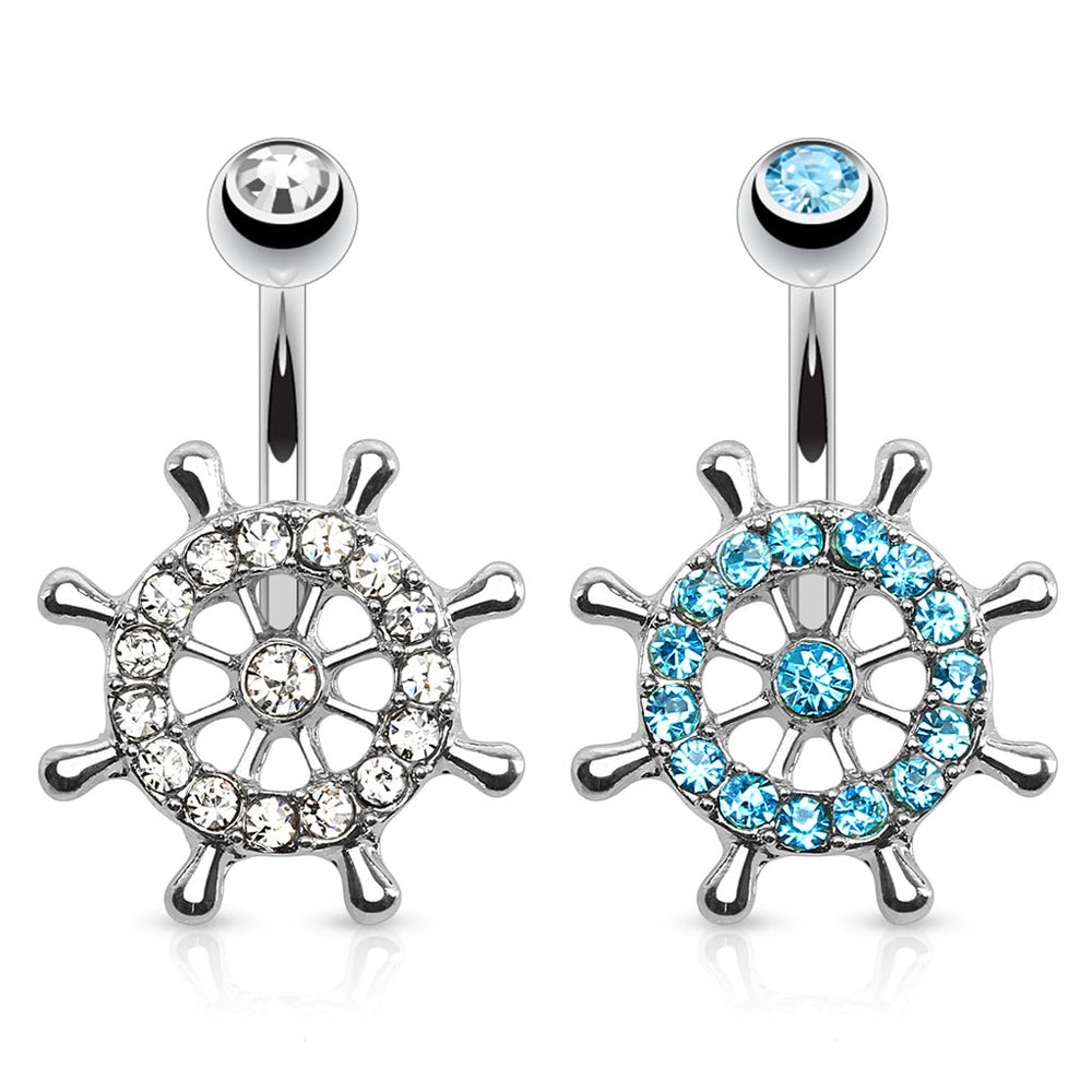Ship Wheel Paved CZ Belly Ring
