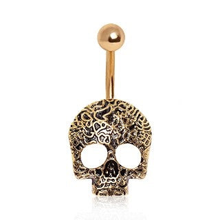 Gold Plated Vine Skull Belly Ring