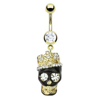 Multi CZ 14kt Gold Plated Skull Belly Ring