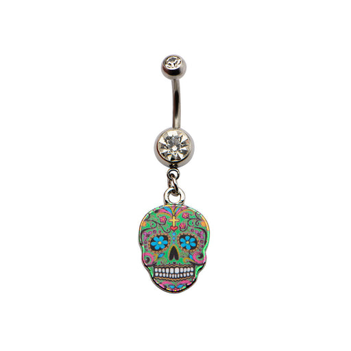 Green Sugar Skull Belly Ring