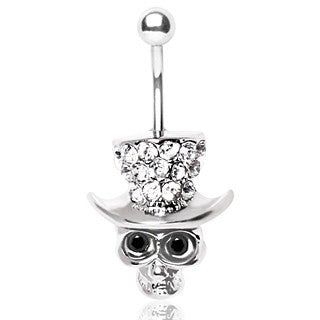 Skull with Gemmed Top Hat Belly Ring