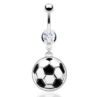 Dangling Soccer Ball Belly Ring