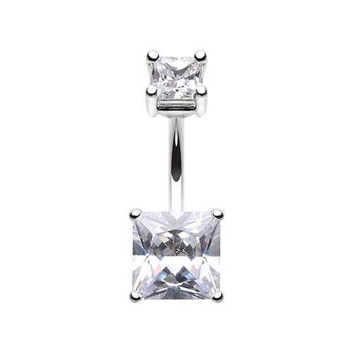 Square Prong Set Gem Belly Ring