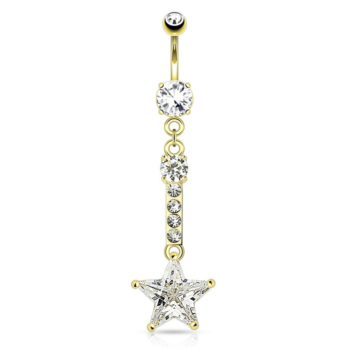 Star Dangling Belly Ring - Gold