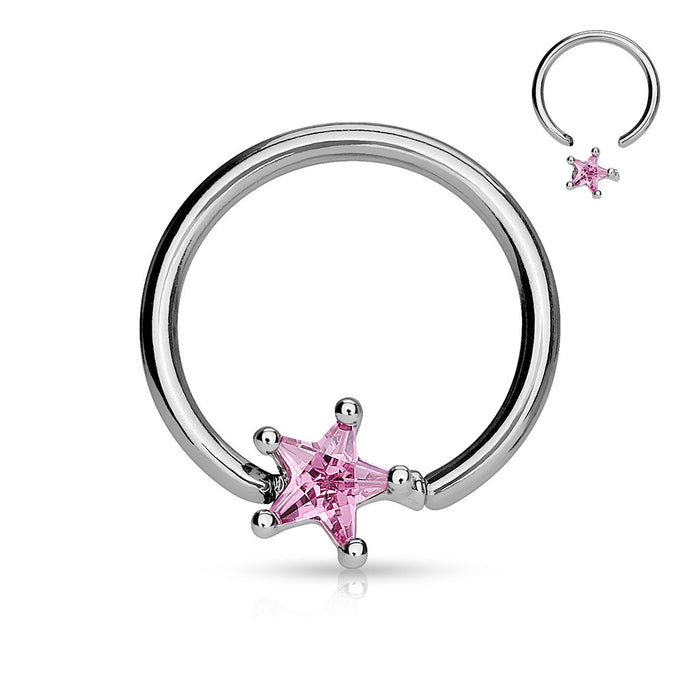 Star Gem Captive Bead Ring-Pink