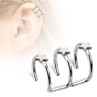 Triple Stars Cartilage Earring - Fake
