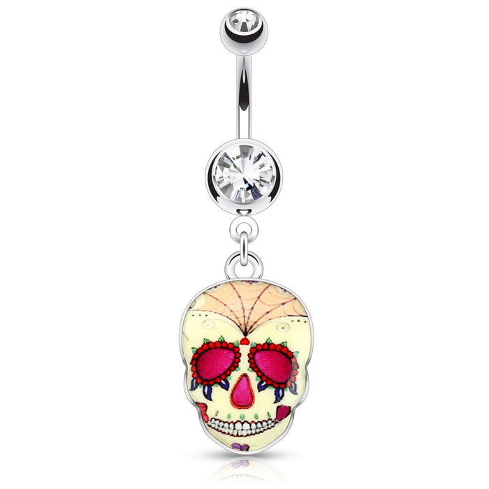 Yellow Sugar Skull Belly Ring