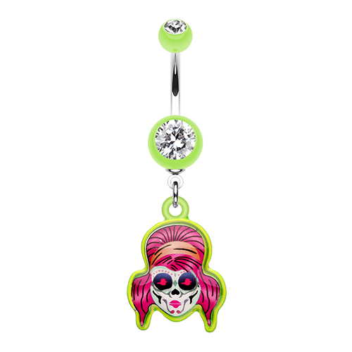 Rockabilly Sugar Skull Belly Ring