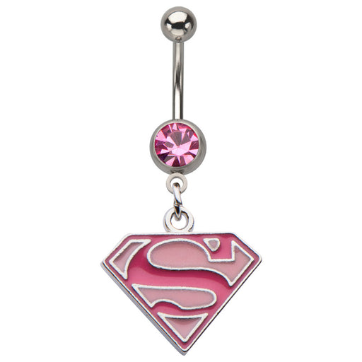 Pink Supergirl Dangling Belly Ring
