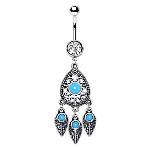 Turquoise Teardrop and Feather Belly Ring