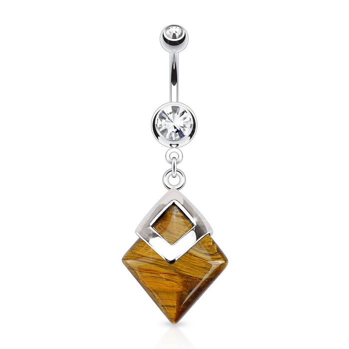 Tigers Eye Diamond Shaped Belly Ring