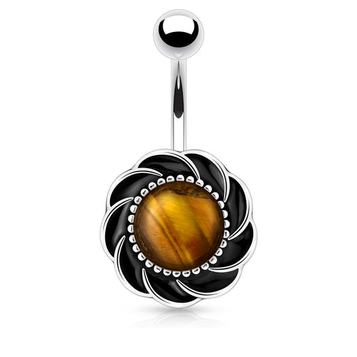 Flower with Tiger Eye Center Gem Belly Ring