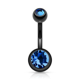 Blue Black Titanium Double Gem Belly Ring