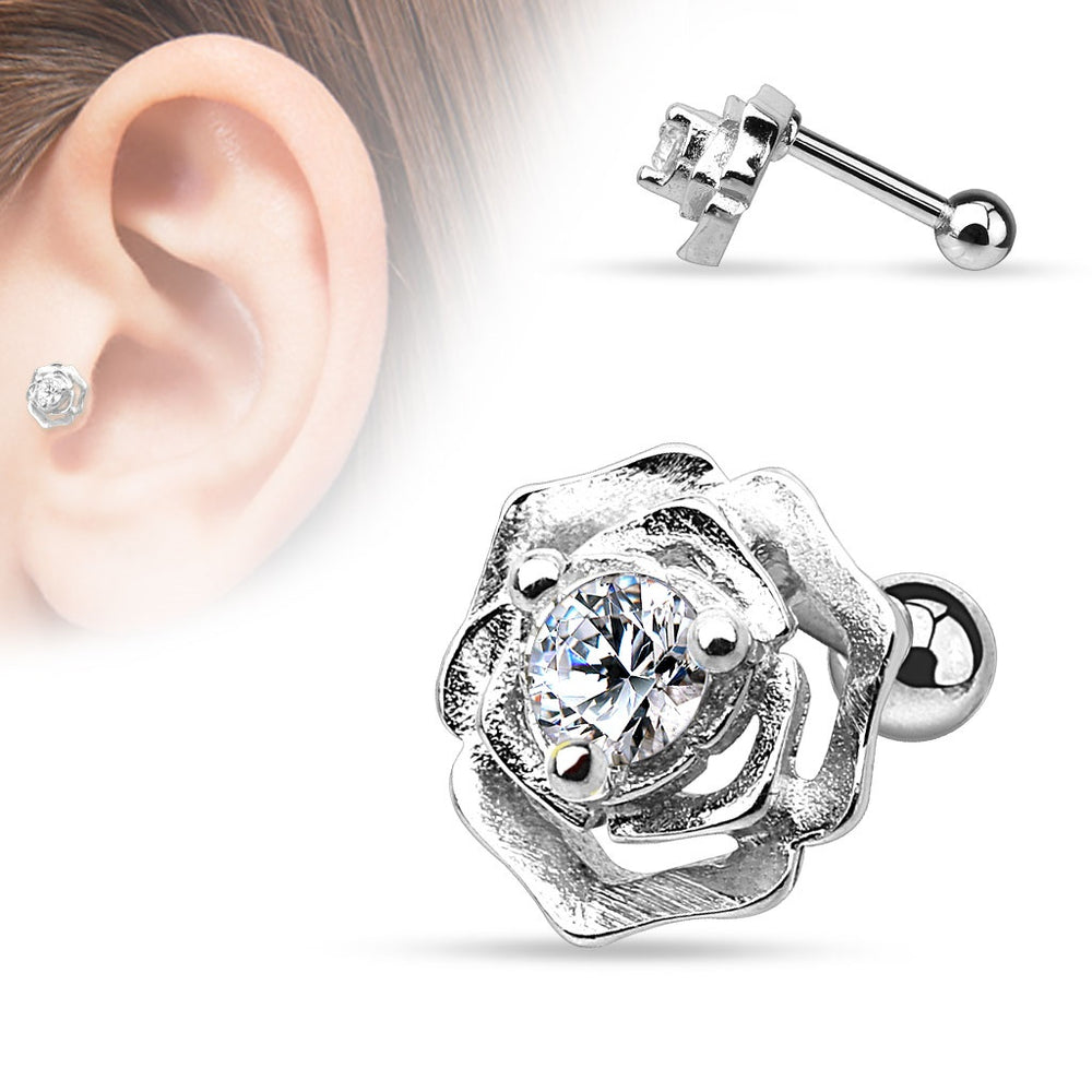 CZ Centered Flower Cartilage Ring-Silver