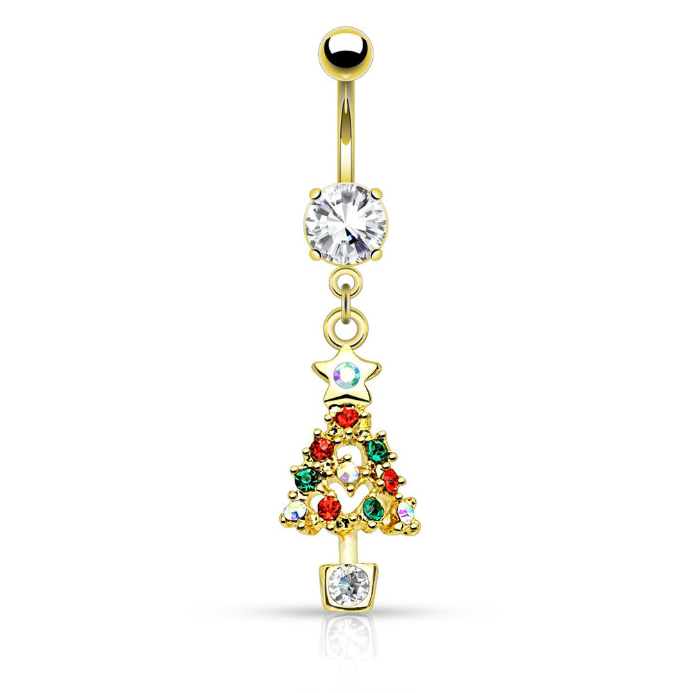 Paved Christmas Tree Belly Ring