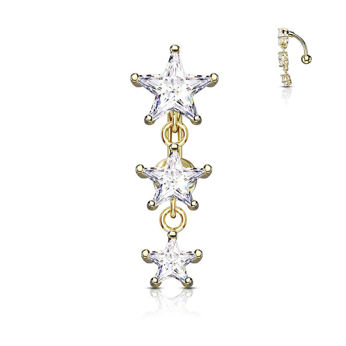 Golden Triple Star Vertical Drop Belly Ring