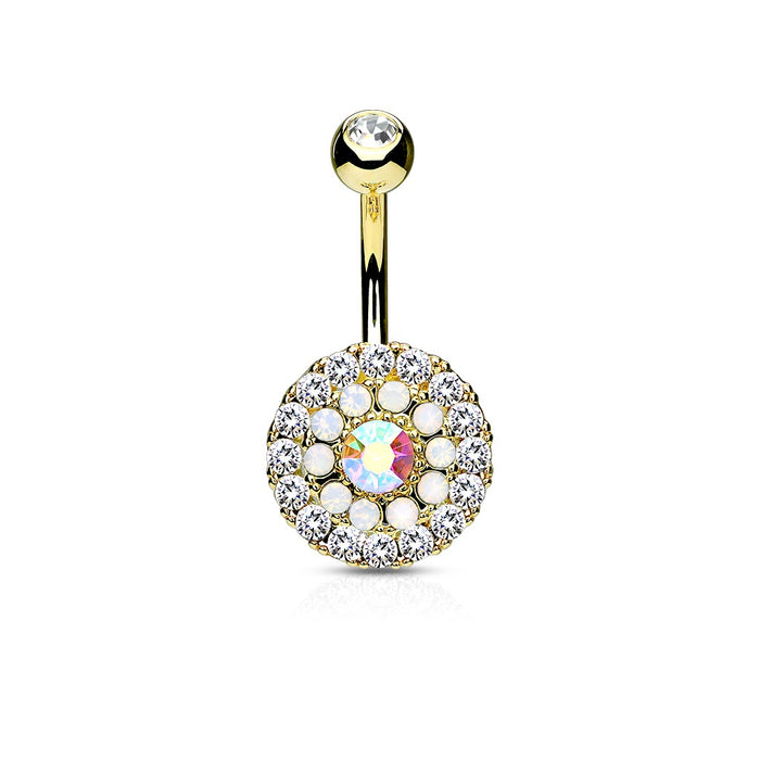 Gold Triple Tiered Crystal Belly Ring