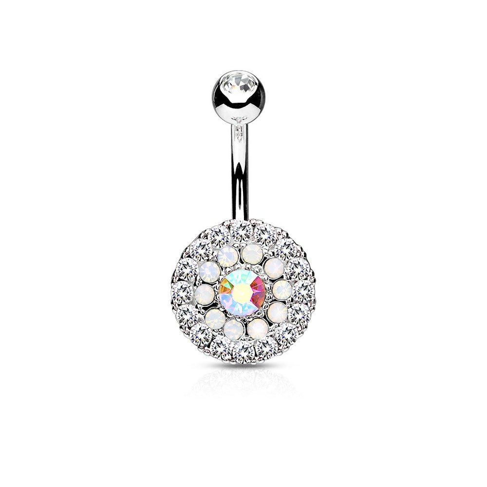 Silver Triple Tiered Crystal Belly Ring