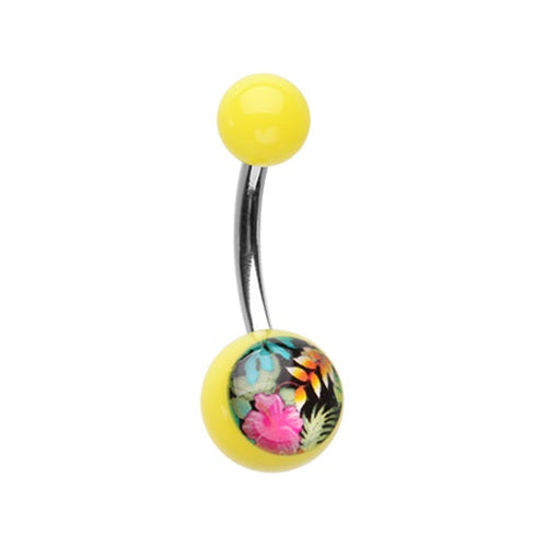 Acrylic Tropical Belly Ring Yellow