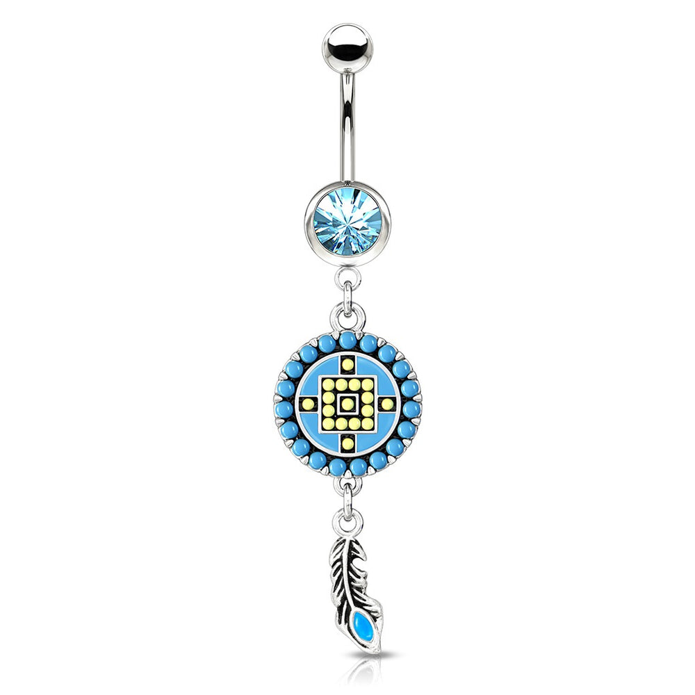 Beaded Circle and Feather Belly Ring