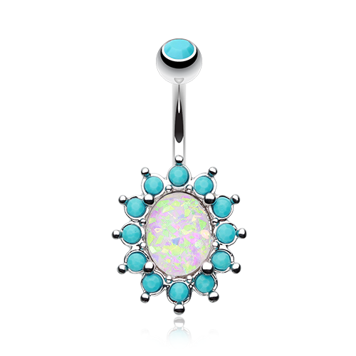 Turquoise Opal Belly Ring Silver