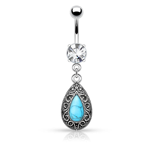 Turquoise Vintage Teardrop Belly Ring