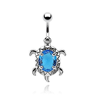 Aqua CZ Turtle Belly Ring