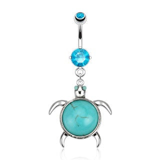 Sea Turtle Navel Ring - Turquoise