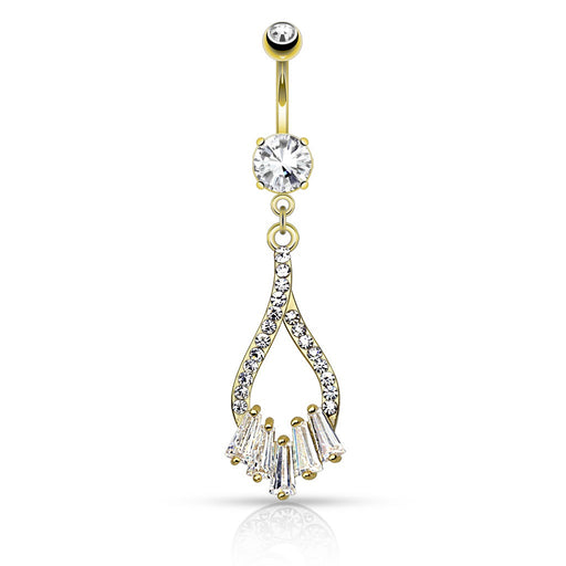 Twist Droplet with Five Princess Cut CZs Belly Ring - Gold
