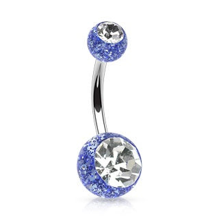 Ultra Glitter Belly Ring Blue