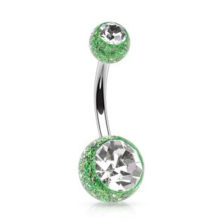 Ultra Glitter Belly Ring - Green