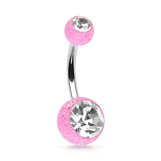 Ultra Glitter Belly Ring Pink