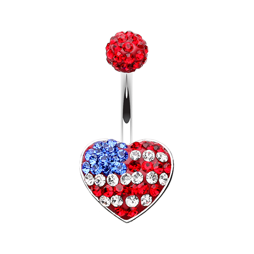 American Flag Heart Belly Ring