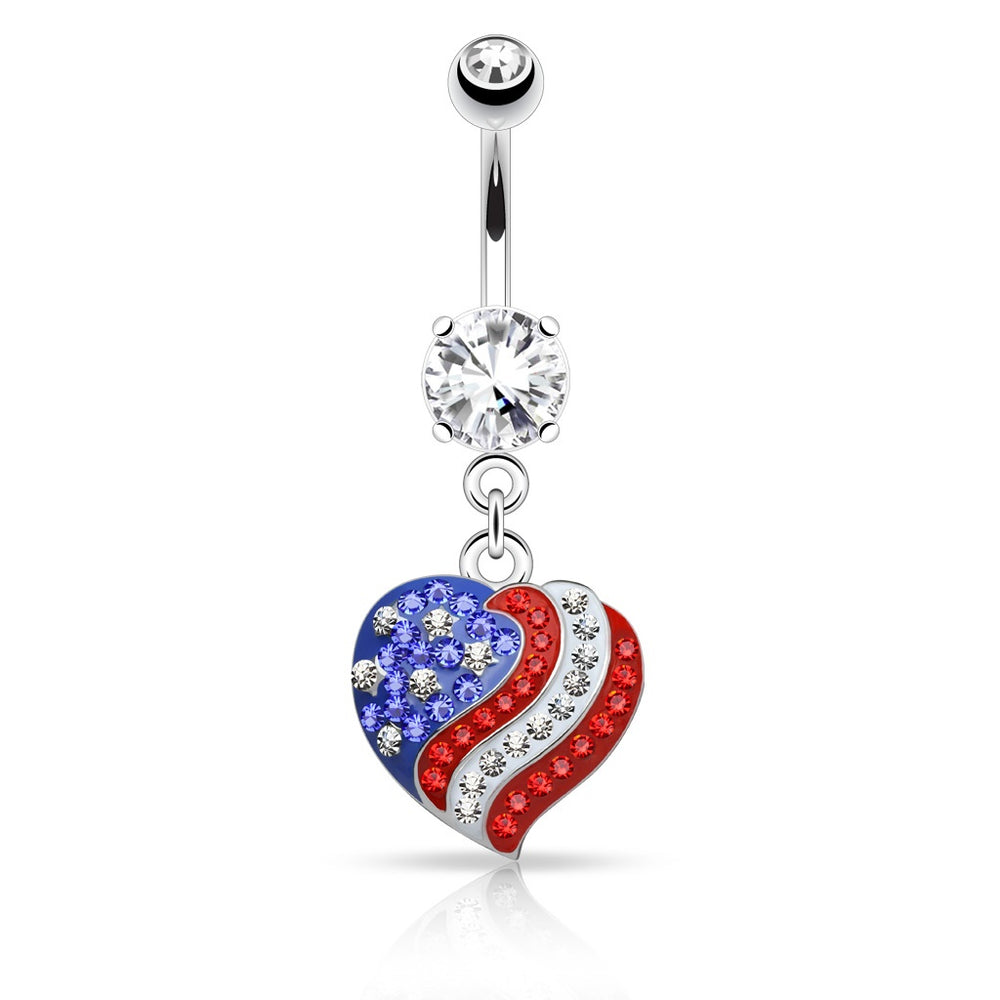 Crystal Paved American Flag Heart Belly Ring