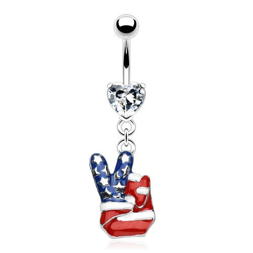 USA Peace Belly Ring with Heart Gem