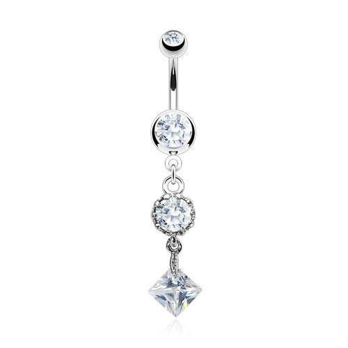 Vintage Style CZ Belly Ring - Clear