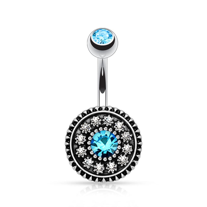 Multi Paved Vintage Shield Belly Ring