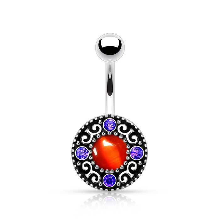 Vintage Circular Swirl Gemmed Belly Ring