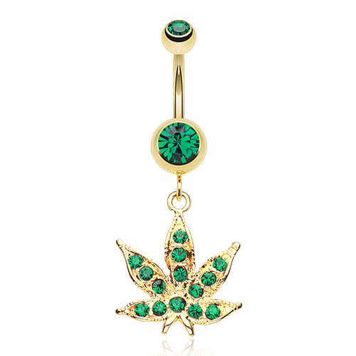 Gold Plated Weed Belly Ring