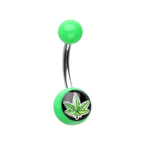Acrylic Pot Leaf Belly Ring