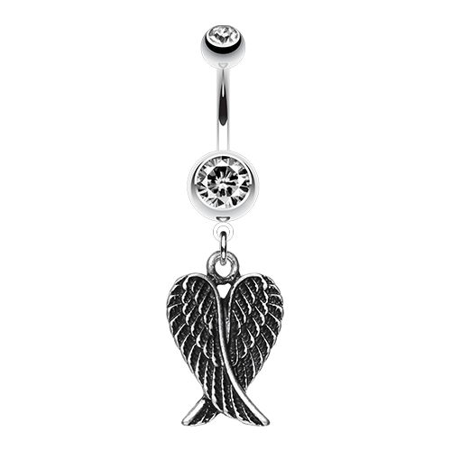 Angel Wing Heart Belly Ring