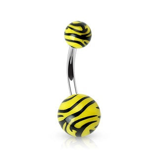 Zebra Print Belly Button Ring - Yellow