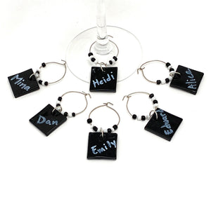 Wine Glass Charms with Marker to Write Names, Reusable for Parties, Holidays, Gifts and Decoration (Black, 6 Pack)