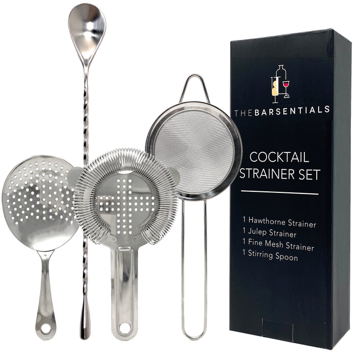 Cocktail Strainer Set with Stainless Steel Stirring Spoon, Hawthorne, Julep, Fine-Mesh Strainer