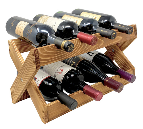 Foldable Wine Rack 8 Bottle Holder in Solid Wood for Kitchen Countertop, Cabinets and Bars