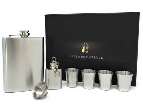 8oz Hip Flask for Liquor Gift Set with Extra 1 oz Flask Stainless Steel 4 Shot Glasses and Funnel from TheBarsentials (Silver)